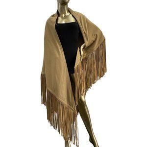 INCREDIBLE Oversized Wool Faux Suede Fringe Cape